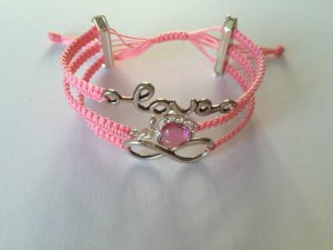 DIY Armband Armkette *Love, Apfel und Infinity* Rosa Silber Handmade
