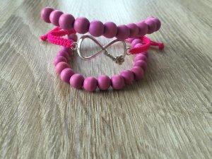 DIY Armband Armkette Perlenarmband *Infinity* Pink Silber Handmade