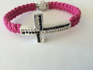 DIY Armband Armkette Pink-Schwarz-Silber *Kreuz*