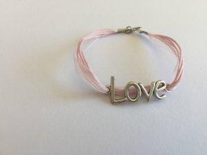 "DIY Armband Armkette *Rosa mit ""Love""-Anhänger*"