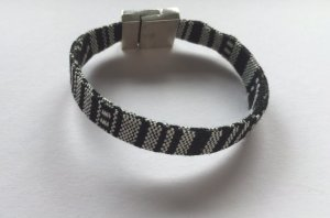 DIY Armband Armkette Textil *Schwarz-Weiß-Silber* Handmade NEU