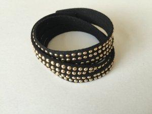 DIY Armband Armkette Wickelarmband *Gold Schwarz* Wildlederimitat Handmade