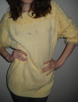 DIY Hand Strick Arbeit Pullover Pulli Zopf Langarm gelb Baumwolle 36 38 XS S M
