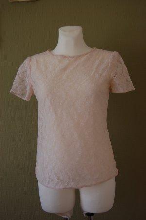 Top de encaje rosa poliamida