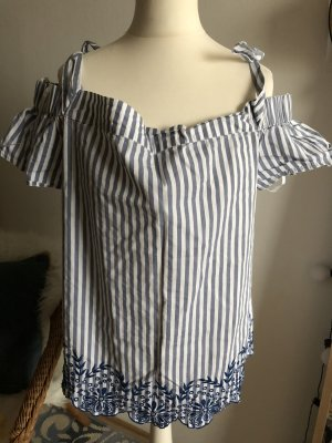 DizzyLizzy Offshoulder Top Bluse 38 M neu gestreift Stickerei blau weiß Could SHoulder TKMaxx London