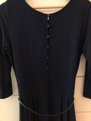 Dkl. blaues Jerseykleid, Gr. 38, knielang, Gürtelchen