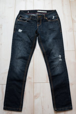 DKNY 29R Skinny Jeans Hose blau dunkel Damen Stretch Used Look Denim S M 38 36