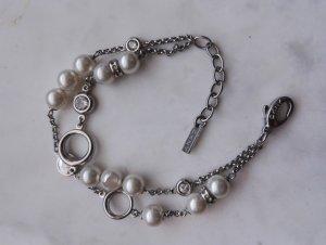 DKNY Armband mit Perlen / doppelreihiges Armkettchen / Original-Dose