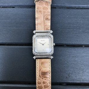 DKNY Watch With Leather Strap silver-colored-beige leather