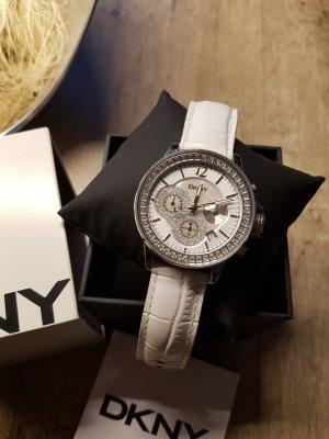 DKNY Armbanduhr Leder Kroko weiß silber