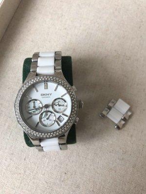 DKNY Chronograph Damen-Armbanduhr NY8181, weiße Keramik + Edelstahl