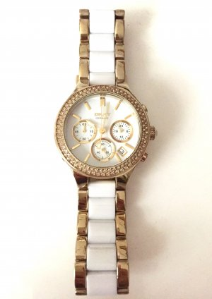 DKNY Damen Armbanduhr Chronograph Quarz in gold/weiß