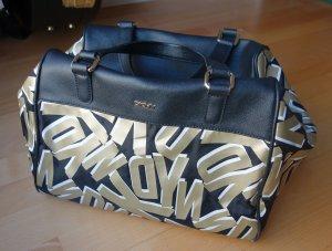 DKNY Donna Karan Bowling Bag Tasche Metallic Logo Print Canvas Saffiano Leder