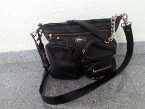 DKNY Echtleder Tasche schwarz/gold top Zustand NP:249,95