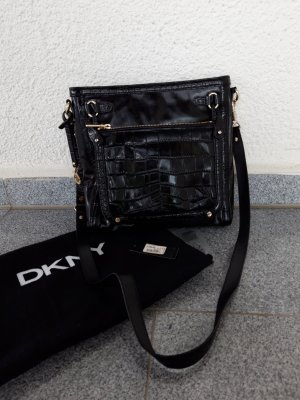 DKNY Echtleder Umhängetasche schwarz/gold neuwertig