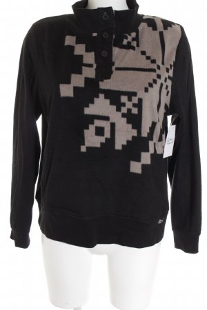 DKNY Fleece trui zwart-beige abstract patroon casual uitstraling