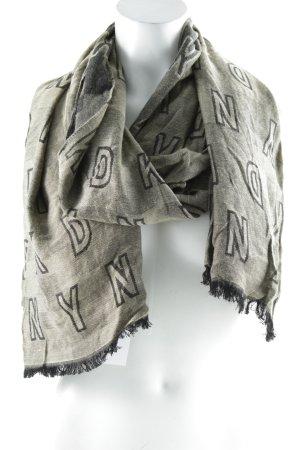 DKNY Fransenschal schwarz-sandbraun Schriftzug gestickt Casual-Look