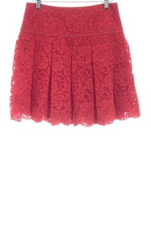 DKNY Falda acampanada rojo estampado floral Apariencia de encaje