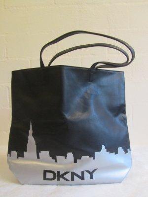 DKNY: Großer Shopper mit Skyline, schwarz/silber
