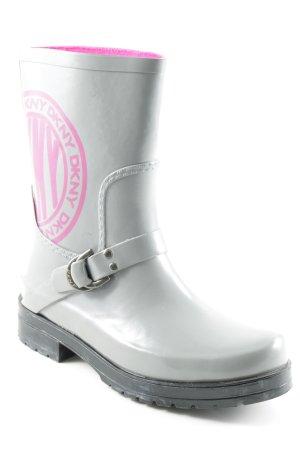 DKNY Botas de agua color plata-rosa look casual