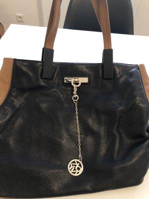DKNY Handtasche schwarz/braun Echtleder