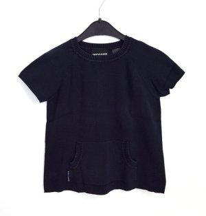 DKNY Jeans Designer Kurz Pullover Gr. S Dunkelblau