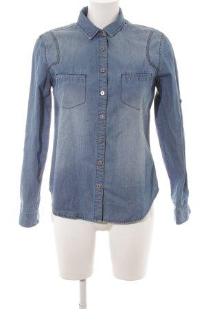 DKNY Jeans Jeanshemd stahlblau Punktemuster Street-Fashion-Look