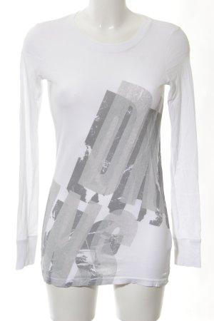 DKNY Jeans Longsleeve weiß-hellgrau Schriftzug gedruckt Casual-Look