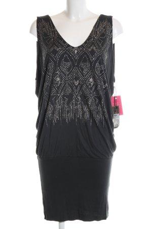 DKNY Jeans Rüschentop schwarz abstraktes Muster Elegant