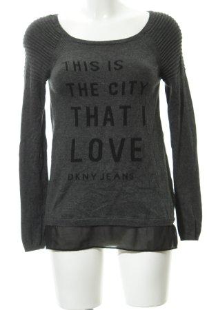 DKNY Jeans Rundhalspullover grau-schwarz Schriftzug gestickt schlichter Stil