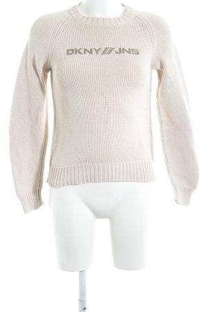 DKNY Jeans Rundhalspullover hellbeige-ocker Schriftzug gestickt Casual-Look