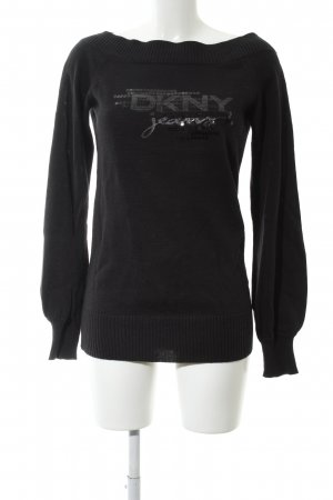 DKNY Jeans Strickpullover schwarz Schriftzug gestickt Casual-Look