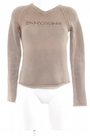 DKNY Jeans Strickpullover camel-graubraun Zopfmuster Casual-Look