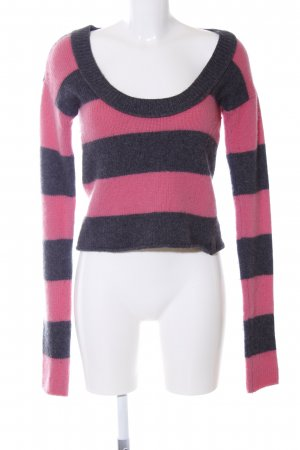 DKNY Jeans Strickpullover grau-rosa Streifenmuster Casual-Look