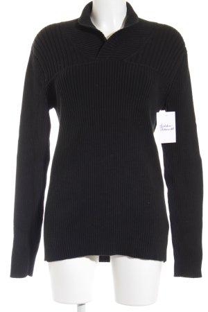 DKNY Jeans Strickpullover schwarz Webmuster Kuschel-Optik