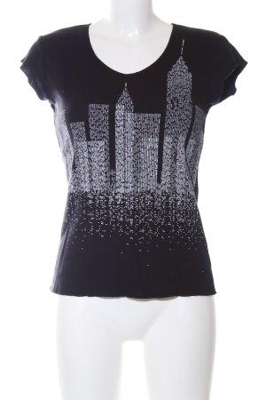 DKNY Jeans Strickshirt schwarz-weiß Schriftzug gedruckt Casual-Look