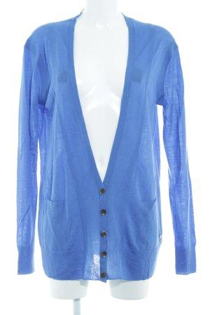 DKNY Jeans Strickweste blau Webmuster Casual-Look