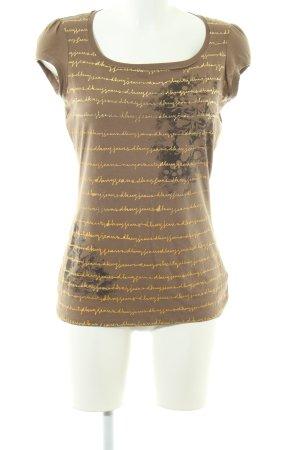 DKNY Jeans T-Shirt braun-blassgelb Allover-Druck Casual-Look