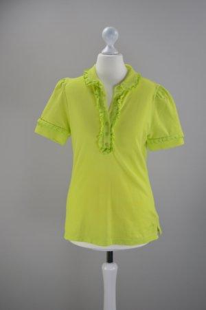 DKNY Jeans T-Shirt Neon Grün Größe S/M mit Rüschen