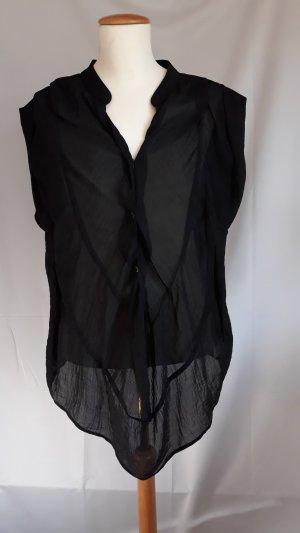 DKNY Jeans Mouwloze blouse zwart-zilver