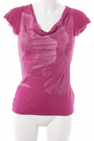 DKNY Jeans Cowl-Neck Shirt magenta placed print extravagant style