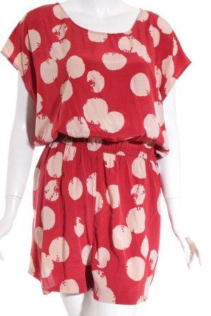 DKNY Jumpsuit rot-hellbeige Punktemuster Street-Fashion-Look