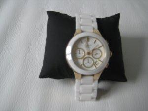 DKNY Keramikuhr mit Chronograph, weiß/gold