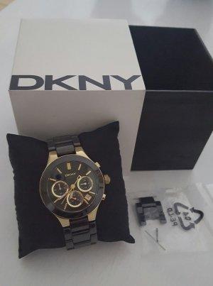 DKNY Keramikuhr schwarz/gold