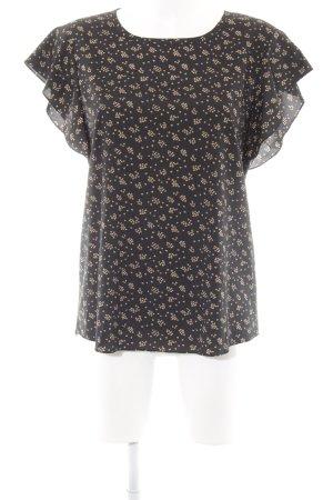 DKNY Kurzarm-Bluse schwarz-beige Herzmuster Romantik-Look