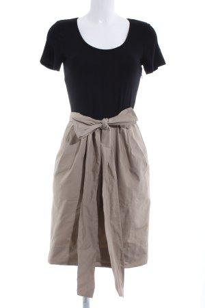 DKNY Kurzarmkleid schwarz-creme Casual-Look