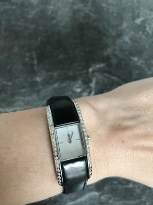 DKNY Watch With Leather Strap black-white