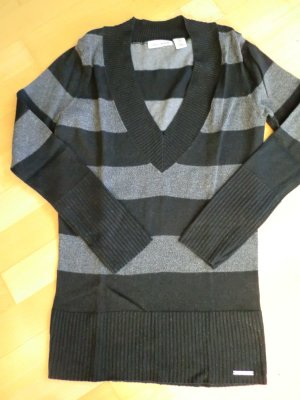V-Neck Sweater silver-colored-black cotton