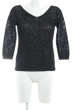 DKNY Camicia lunga nero Motivo a maglia leggera stile casual