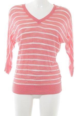 DKNY Longsleeve weiß-pink Lochstrickmuster Casual-Look